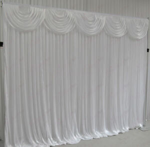 Image Is Loading 3mx3m White Wedding Backdrop Curtain With Detachable Swag