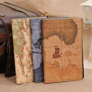 Retro-Map-Leather-Smart-Case-Stand-Cover-For-Apple-iPad-Mini-2-3-4-5-Air-pro
