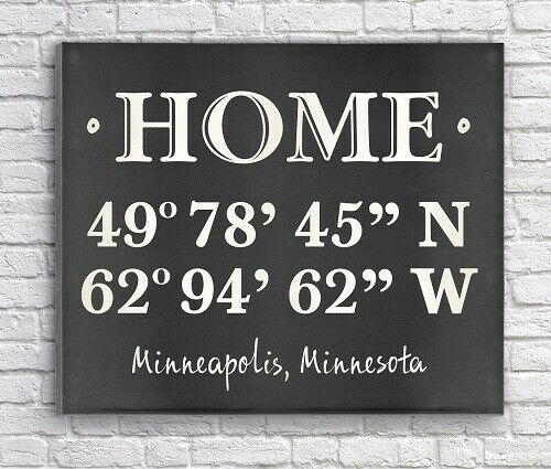HOME SIGN - COORDINATES PERSONALIZED FOR YOU  FAMILY GIFT - FREE US SHIPPING