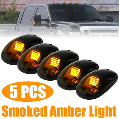 5pc Cab Lights Smoked White Running Marker Parking Roof Top LED Truck 4x4 Pickup