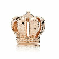 S925 Euro Charm 14k Rose Gold Plated Royal Crown Tiara