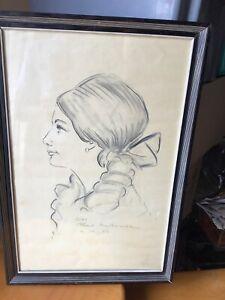 Gemaelde-Portraet-Von-Frau-Paris-Montmartre-1969-Zeichnung-Mine-Blei-Signiert-Ray