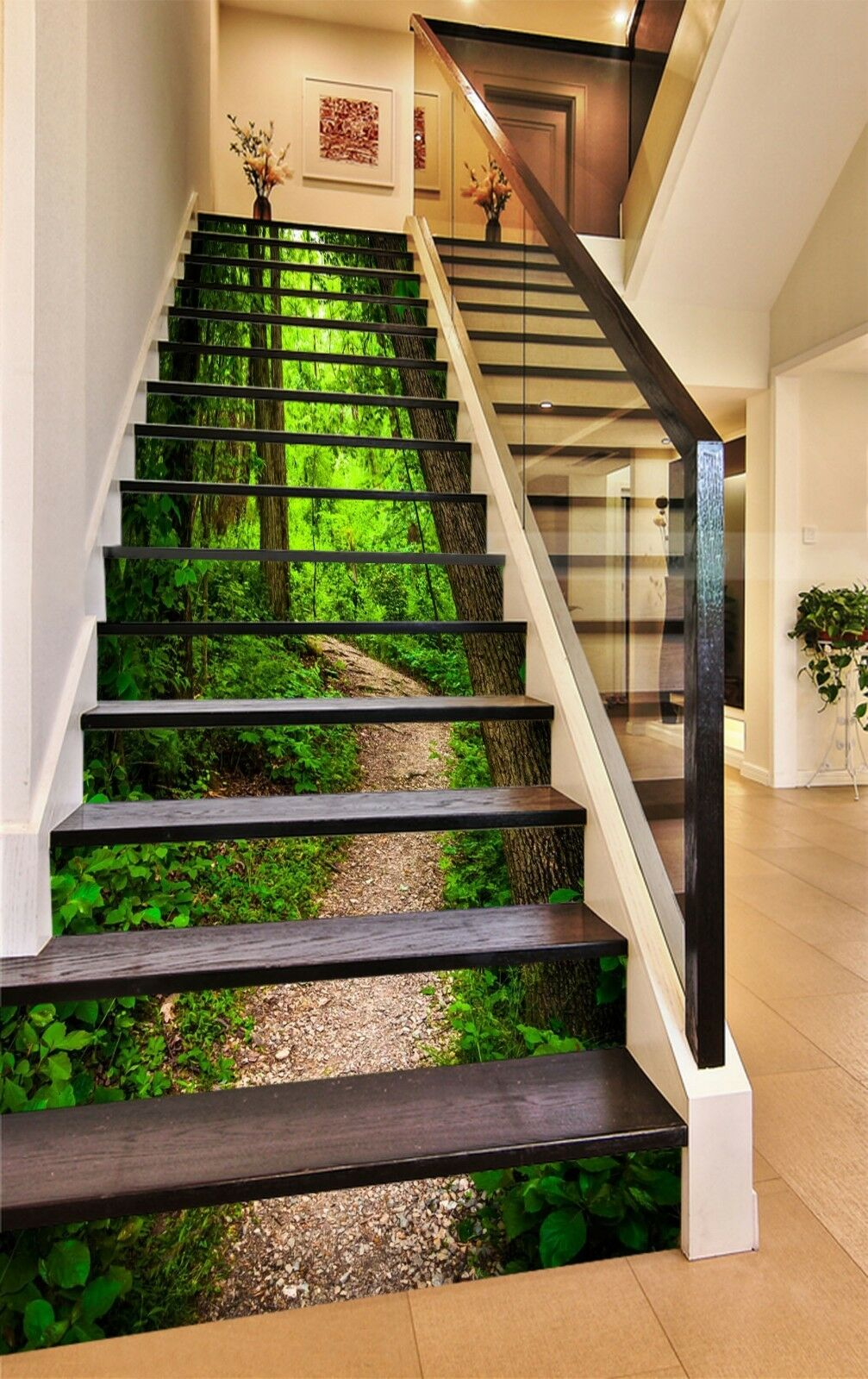 3D Forest Road 3 Stair Risers Decoration Photo Mural Vinyl Decal Wallpaper US