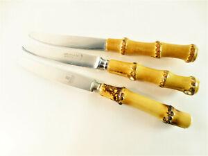 3 diverse Obstmesser ROSTFREI mit Bambusgriff Vintage 60er Jahre