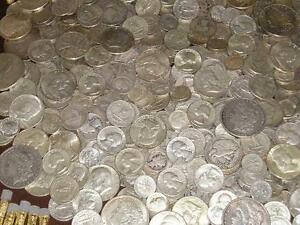 1-OZ-90-SILVER-COINS-ALL1930-039-s-50-039-s-MIX-DATES-HALF-DOLLAR-QUARTER-DIMES-BONUS