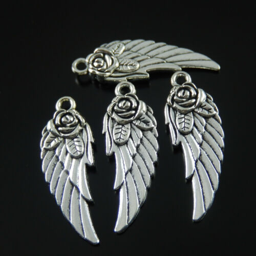 20pcs Antique Silver Alloy 28x11mm Feather Wings Pendant Charms DIY Accessories