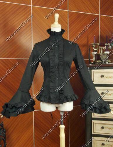 Victorian Steampunk Edwardian Penny Dreadful Black Jabot Blouse Shirt Top B018