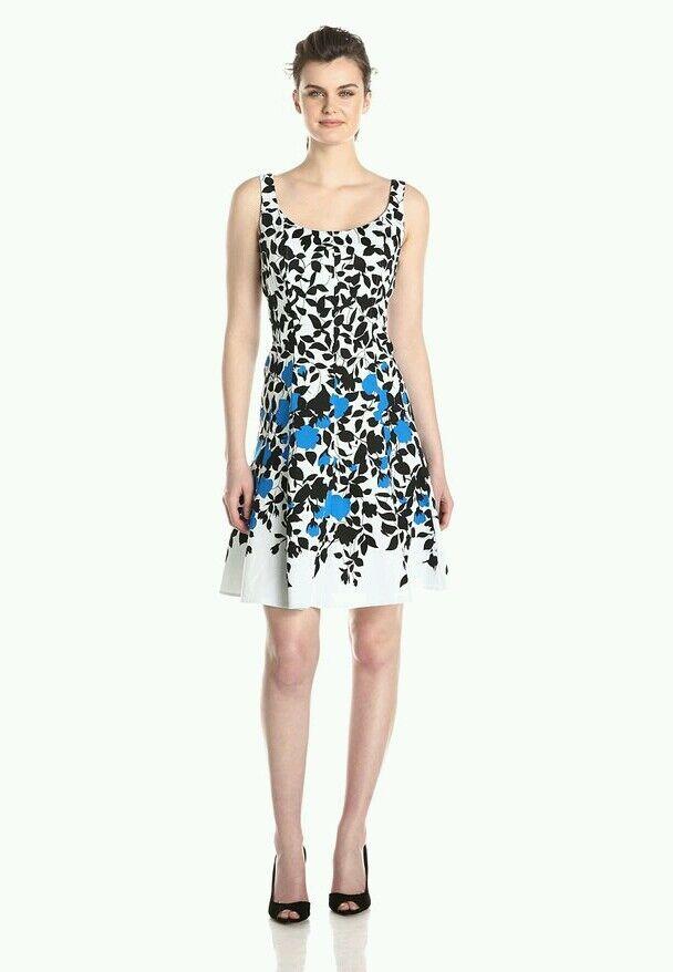 Nine West Sleeveless Floral Print Seamed Summer Flower Dress Blau Macys - Größe 4