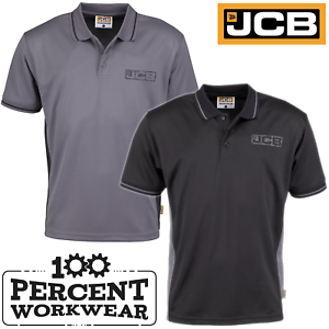 JCB-Workwear-Trade-Moisture-Wicking-Polyester-Polo-Shirt-Short-Sleeve-Black-Grey