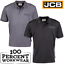 JCB-Workwear-Trade-Moisture-Wicking-Polyester-Polo-Shirt-Short-Sleeve-Black-Grey thumbnail 1