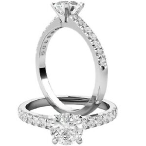 0.72 Ct Round Cut Moissanite Engagement Superb Rings 18K Solid White Gold Size 4