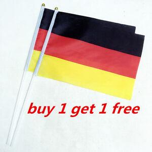 2Pcs Germany Small Federation Hand Waving National Flag 14*21cm