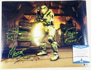 STEVE-DOWNES-MASTER-CHIEF-SIGNED-HALO-11x14-METALLIC-PHOTO-BAS-COA-052