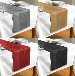 Image Is Loading New Embroidered Taffeta Table Runners Red Black Gold