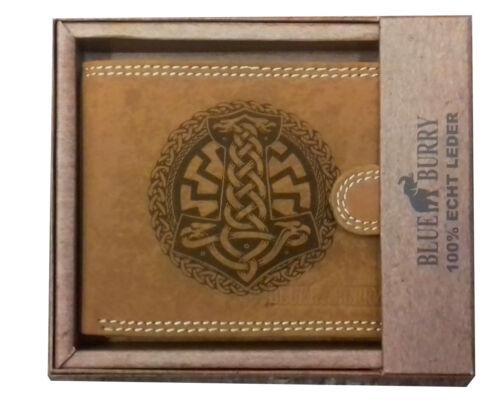 Brieftasche Thors Hammer mit schwarzer Sonne  RFID block echt Leder Wikinger