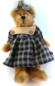 Jerry-Elsner-Jointed-TEDDY-BEAR-Girl-in-Dress-amp-Matching-Hair-Bow-11-034-tall
