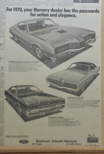 1969 newspaper ad for Mercury - 1970 Cyclone GT - Cougar XR-7, Marquis Brougham
