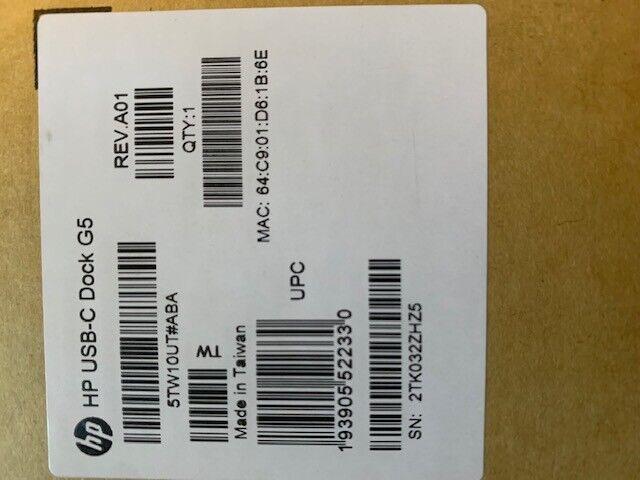 BRAND NEW HP 5TW10UT # ABA USB-C Universal Dock G5 Docking Station - Black