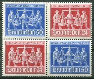 Alliierte-Besetzung-V-Zd-1-postfrisch-Exportmesse1948-Zusammendruck-Viererblock