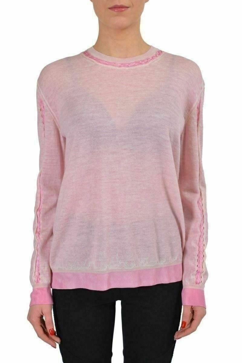 Just Cavalli Lana pink Claro Transparente women Suéter de Cuello Redondo US S It