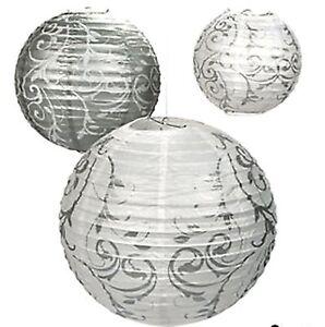 18 silver white swirl paper lanterns wedding hanging for Paper swirl decorations