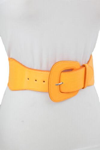 Women Faux Leather Elastic Bright Neon Orange Color Wide Belt Hip Waist Size S M