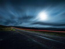 ART PRINT POSTER PHOTO LANDSCAPE NIGHT ROAD CAR LIGHT EXPOSURE LFMP1228