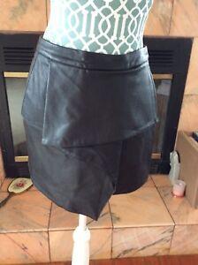 89987acffa52 Image is loading Lush-Black-Faux-Leather-Mini-Skirt-Size-S