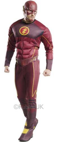 Da Uomo Deluxe Muscle Chest FLASH SUPEREROE FUMETTI Costume Vestito STD XL