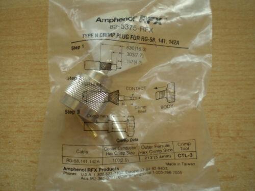 Tipo n crimp Enchufe para RG-58 142A hecha por Amphenol 82-5375-RFX Z304 141
