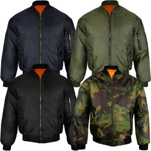 Mens-Raiken-Classic-MA1-Bomber-Jacket-Military-Flight-Biker-Security-Padded