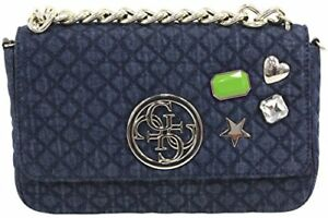 Image Is Loading Guess G Lux Quilted Denim Crossbody Flap Hobo