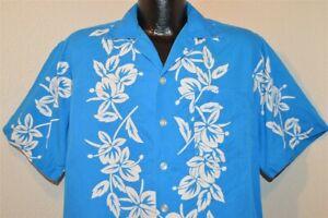 VTG 50s Aloha blau weiß Ananas Hibiscus Baumwolle schöne Hawaii Hemd L