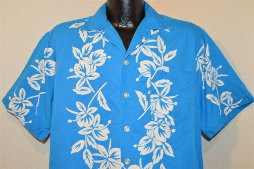 vtg 50s ALOHA BLUE WHITE PINEAPPLE HIBISCUS COTTON