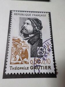 FRANCE-1972-timbre-1728-CELEBRITY-THEOPHILE-GAUTHIER-oblitere-VF-STAMP