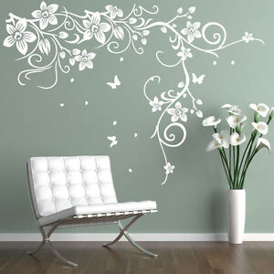 Butterfly vine flower vinyl wall art stickers wall decals for Black tree mural
