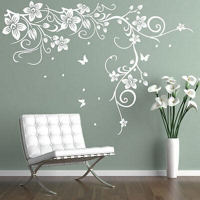 Butterfly Vine Flower Vinyl Wall Art Stickers, Wall Decals, Wall Graphics