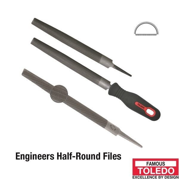 TOLEDO Half Round File Second Cut - 200mm 12 Pk 08HR02BU x12