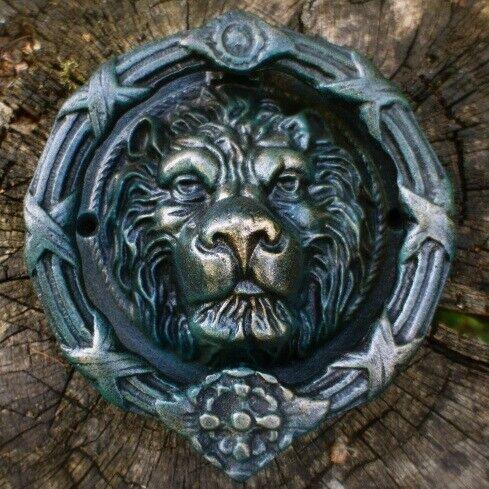 prunkvoller Löwenkopf wie antik Ovieto für historische Haustür Türklopfer