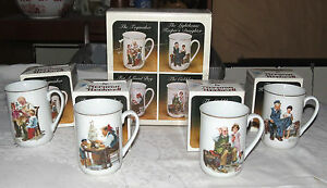 Norman-Rockwell-Collector-039-s-Mug-Set-in-Original-Box