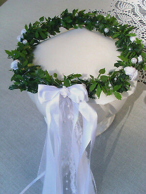 Haarschmuck creme Kopfschmuck Kranz Kommunion Hochzeit Blumenmädchen