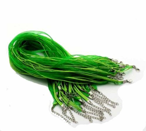 Green 15 Organza Ribbon with Waxen Cord Necklaces Lobster Clasp 17 Inch