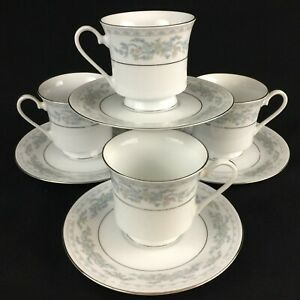 Set-of-4-VTG-Cups-and-Saucers-by-Excel-China-Somerset-Blue-Floral-and-Ribbons