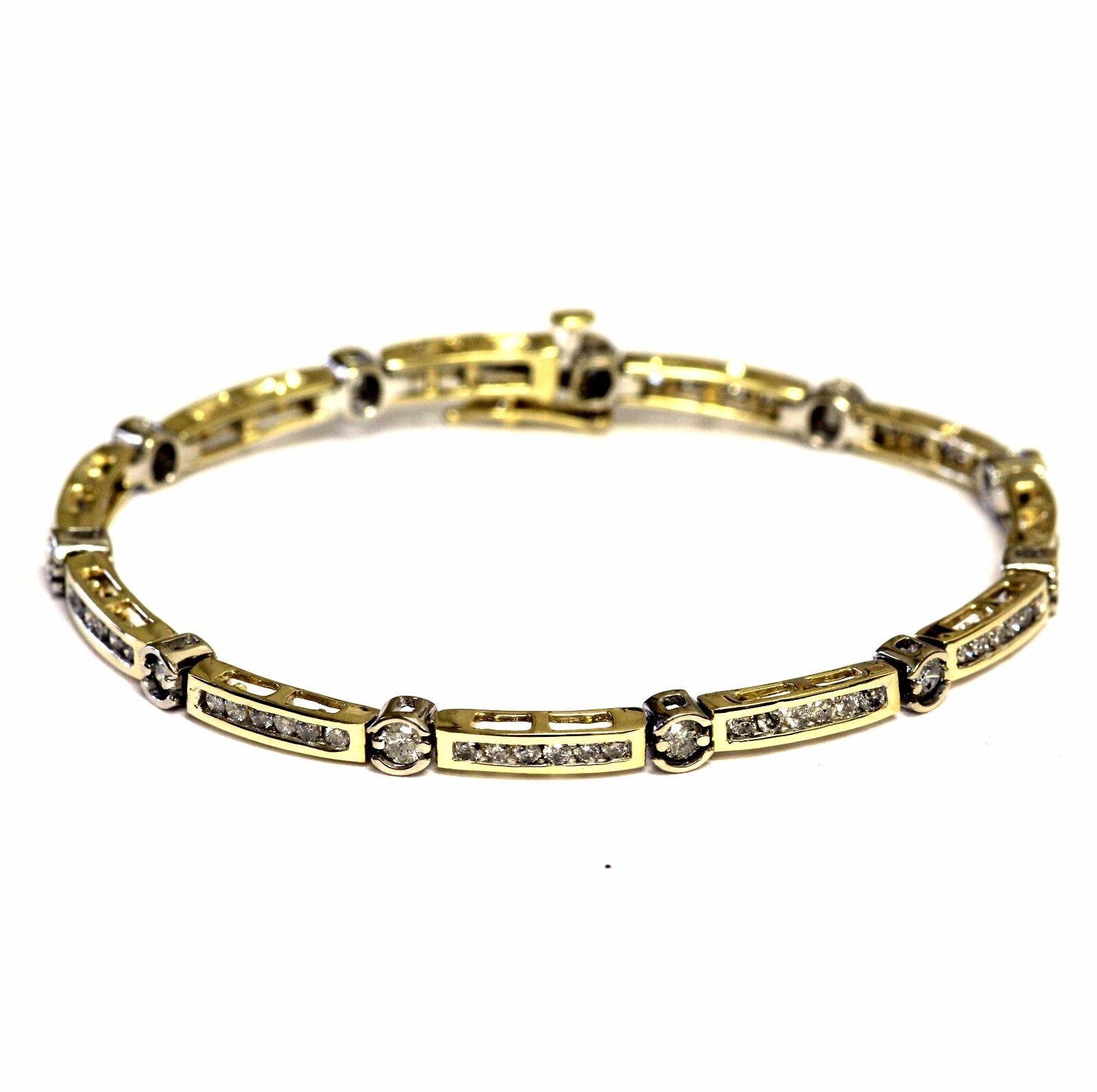 14k white yellow gold 1.76ct SI3 H diamond tennis bracelet 11.4g ladies estate 7