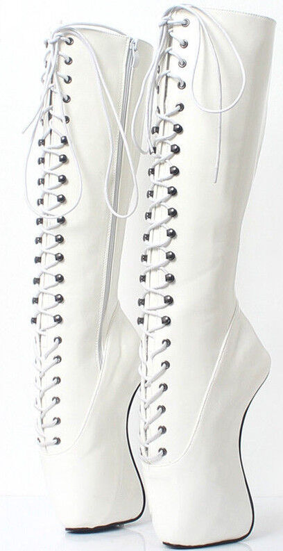White White White KNEE High Ballet PONY Boots, high heals, sexy boot 18 CMS 9b8a00