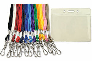 Lot-of-50-VINYL-ID-CARD-HOLDERS-LOT-50-PCS-NECK-STRAP-ID-LANYARDS