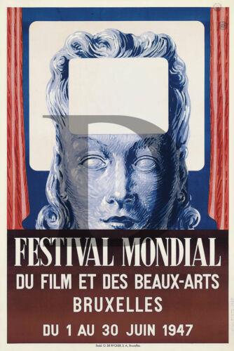 PLAQUE ALU REPRODUISANT UNE AFFICHE FESTIVAL MONDIAL DU CINEMA BEAUX ARTS 1947