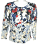 miniature 1 - White House Black Market Cardigan 3/4 Sleeve Floral Snap Up Sweater Blue Size XS