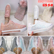 Womens Casual Flats Sequin Glitter Sneakers Ladies Trainers Sports Flat Shoes