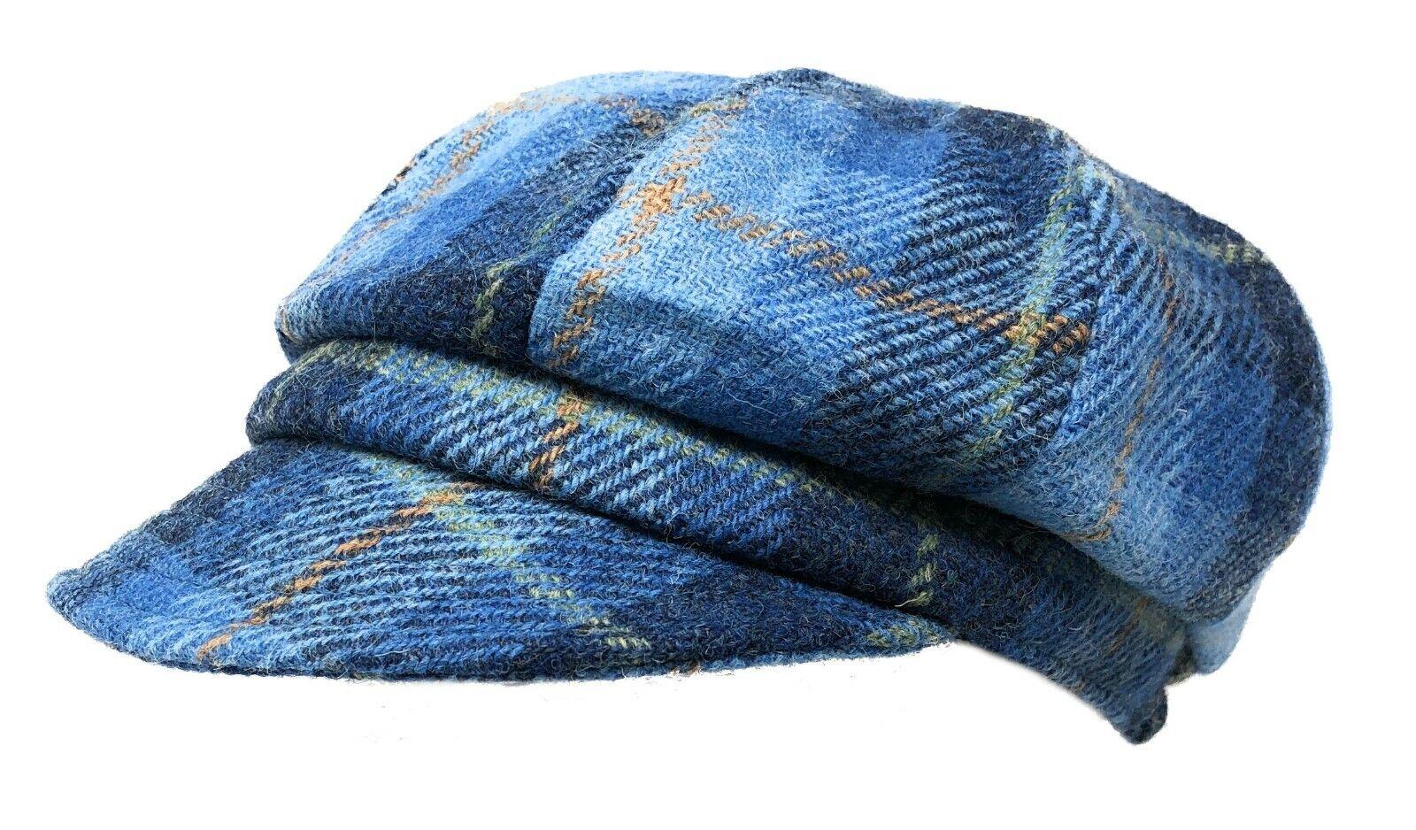 Damas Harris Tweed Baker Niño Sombrero en Azul Tartán